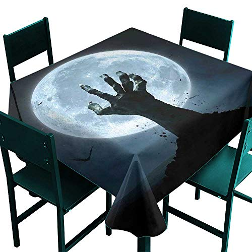 ScottDecor Halloween Table Cloths Spill Proof Realistic Zombie Earth Soil Full Moon Bat Horror Story October Twilight Themed Blue Black Tablecloth for Square Table W 70