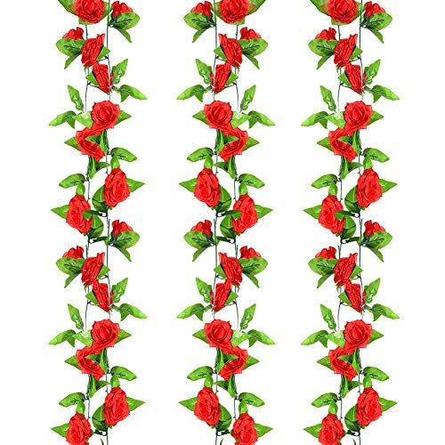 Artificial Rose Vine Flowers, WEST BAY 3Pcs Red Artificial Roses Flowers Christmas Gifts 24ft Hanging Rose Ivy for Christmas Party Home Kitchen Office Hotel Wedding Arch Garden Craft Wall Decorations