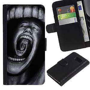 LASTONE PHONE CASE / Lujo Billetera de Cuero Caso del tirón Titular de la tarjeta Flip Carcasa Funda para Samsung Galaxy S6 SM-G920 / Teeth Horror Terror Black Spooky