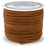 Realeather Crafts Suede Lace, 0.125-Inch Wide 25-Yard Spool, Medium Brown
