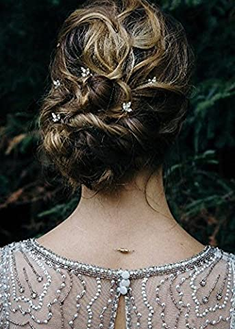 Missgrace 5PCS Bridal and Bridesmaid Handmade Crystal Hair Pins Clips for Women Hair Styling (Gold) (Hair Pin Gold)