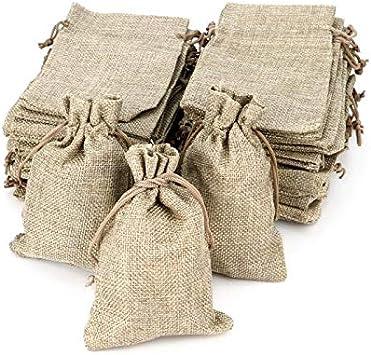 Sacs en Tissu Sacs en Jute pour Bijoux Sac de No/ël 13 x 18 cm 50 Pcs Sacs Cadeaux ARTESTAR 50 Sachets en Jute Sacs Cadeaux Sac /à Charbon Sacs en Toile de Jute avec Cordon de Serrage
