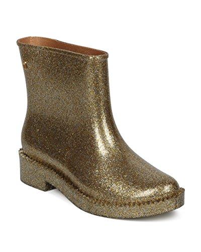 Melissa Women Jagged Edge Rain Boot - Ankle High Pull Up Rain Bootie - Comfortable Casual Versatile Rain Boot - Rain Drop Boot Gold Glass (Size: 8.0) by Melissa