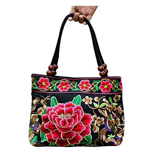 Women Handbag – TOOGOO(R)Chinese Style Women Handbag Embroidery Ethnic Summer Fashion Handmade Flowers Ladies Tote Shoulder Bags Cross-body £¨Red Peon…
