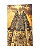 Interestlee Fleece Throw Blanket Gothic Decor Famous Cathedral European Church Catholic Gifts Sunset Tower Medieval Architecture Prague Picture Believe Art Christian Brown Orange