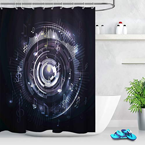 (LB Music Theme Shower Curtain Hip Hop Style Jumping Music Melody Note Pattern on Creative Design Party Shower Curtains for Bathroom,78x72 Inch Waterproof Fabric with 12 Hooks)