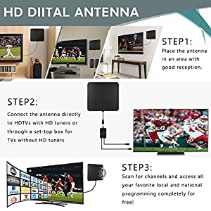 TV Antenna Indoor Digital Signals- Coolmade 50 Miles Digital HDTV Antenna with Detachable Channels Amplifier Signals Booster Antenna for TV 4K 1080P High Reception Amplified - 9.8Ft Cable