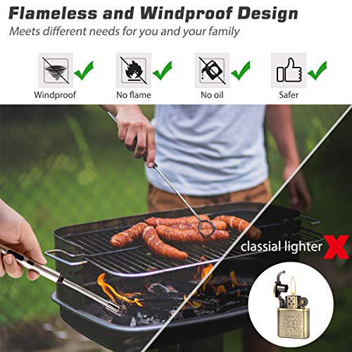 RUNDA Candle Lighter, Upgraded 2 Pack Rechargeable Electric Arc Lighter with Flexible Neck LED Battery Display and Flameless Windproof Lighter for Light Candles, Camping, Grill, BBQ
