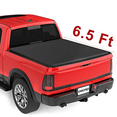 oEdRo Upgraded Soft Tri-fold Truck Bed Tonneau Cover On Top Compatible for 2002-2019 Dodge Ram 1500 (Only 2019 Classic), 2003-2018 Dodge Ram 2500 3500 with 6.4ft Bed | Fleetside Without Ram Box ()