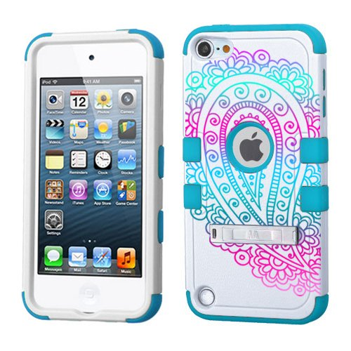 PHONETATOOS iPod Touch 5th 6th Generation Case - Hard Shell Case Compatible with Apple - Shockproof Hybrid 5/6 Cover With Stand For Boys And Girls (Paisley Ombre)