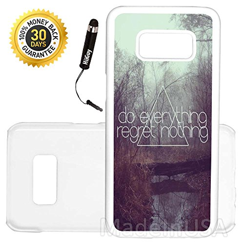 Custom Galaxy Note 8 Case (Cute Quote Regret Girly Hip) Edge-to-Edge Plastic White Cover Ultra Slim | Lightweight | Includes Free Mini Stylus Pen by Innosub (Monograms Mini Hip)