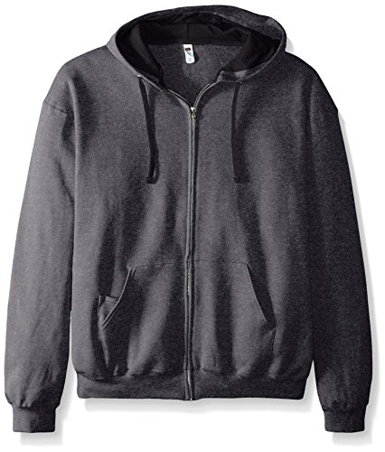 Fruit of the Loom Men's Full-Zip Hooded Sweatshirt - Extra Sizes, Charcoal Heather, XX-Large