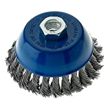 Mercer Industries 189060 Knot Cup Brush, 4'' x 5/8''-11, For Angle Grinders, Stainless Steel