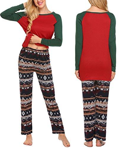 Pagacat Women Christmas Winter Pajamas Long Sleeve and Stripe Bottoms Cotton PJ Set( Rark Green, M) (Christmas Pajamas Monogrammed)