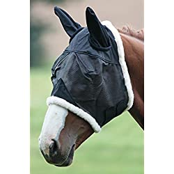 Shires Field Durable Fly Mask - Ears - Size:Oversize Color:Black