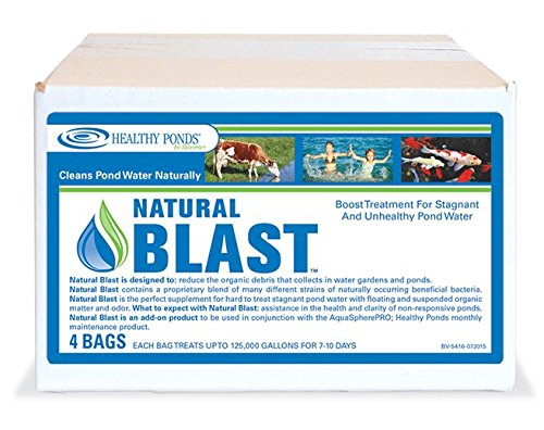 Healthy Ponds 51131 Natural Blast Pond Water Cleaner, 4 Water Soluble Packets; Each Packet Treats up to 125,000 Gallons for 7-10 - Cleaner Pond Natural