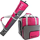 BRUBAKER Superfunction - Limited Edition - Combo Ski Boot Bag and Ski Bag for 1 Pair of Ski, Poles, Boots and Helmet - Dark Pink Grey