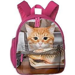 Cat Staring At Fish Unique Custom Outdoor Backpack Multipurpose Daypacks for chirldren