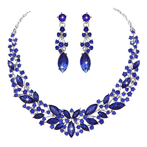 Youfir Austrian Crystal Rhinestone Bridal Wedding Necklace and Earrings Jewelry Sets for Women(Blue) -