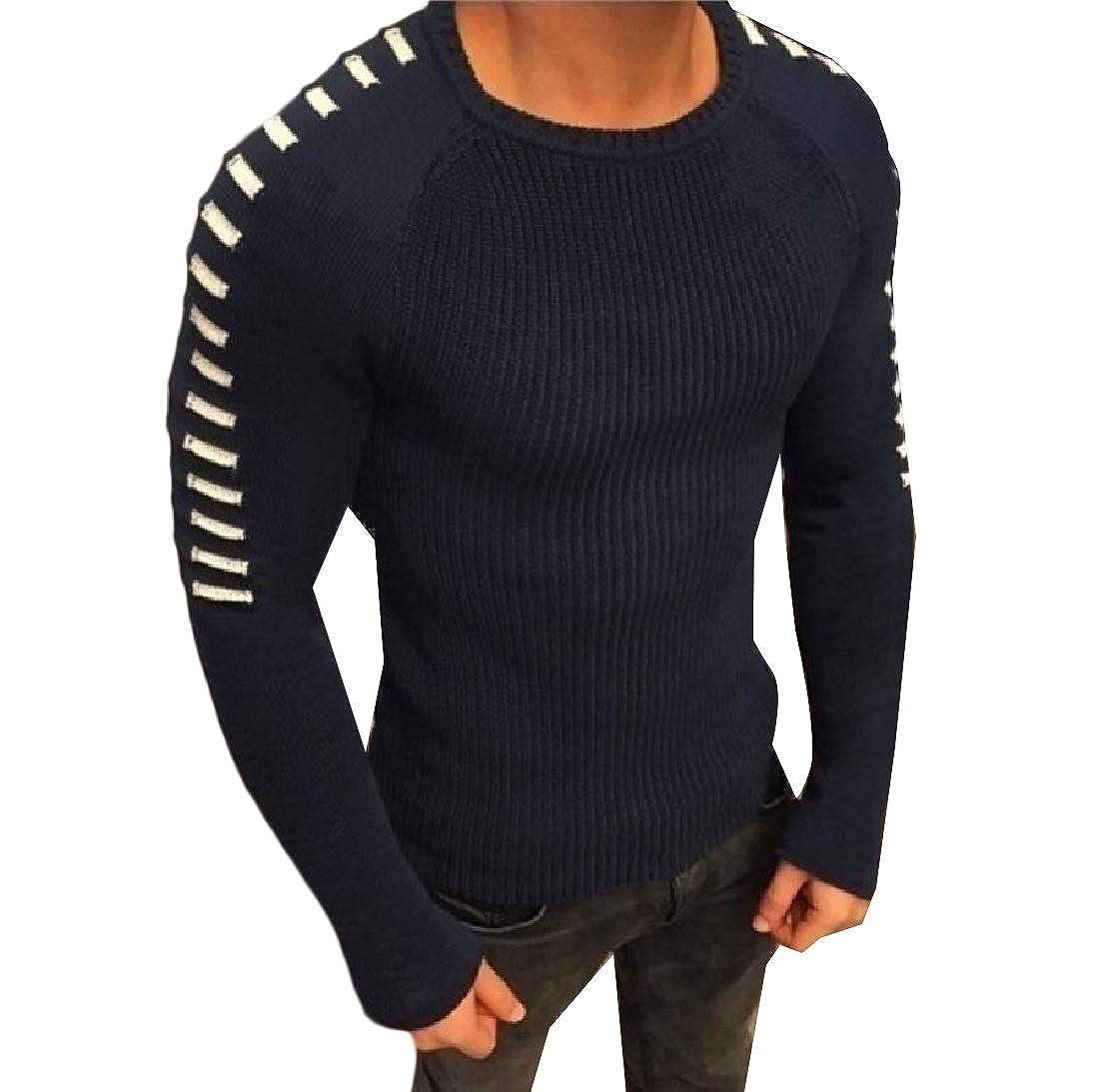 YUNY Mens Splicing Plus Size Jacquard Stretchy Outwear Sweater Top Dark Blue 2XL