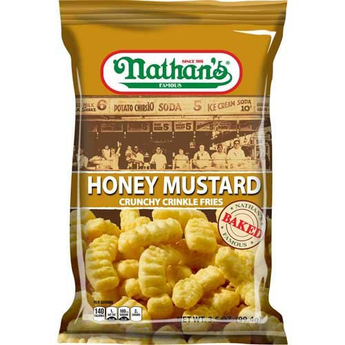 Nathans Snack - Nathans Honey Mustard Crinkle Fries, 3.5 Ounce -- 12 per case.