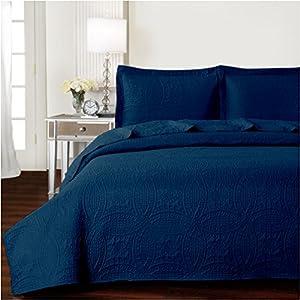 Mellanni Bedspread Coverlet Set Navy - BEST QUALITY Comforter Oversized 3-Piece Quilt Set (Full / Queen, Navy)