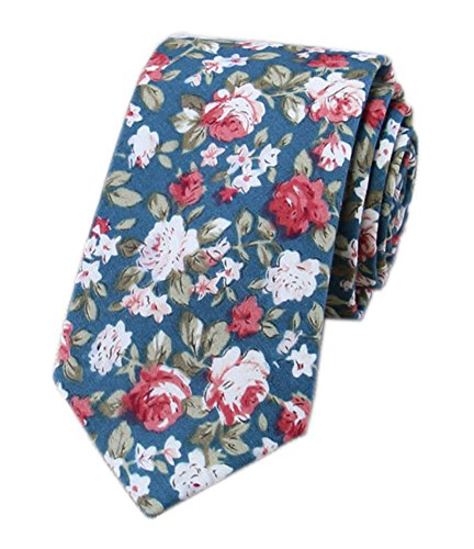 Floral Pattern Necktie - Secdtie Men's Skinny Tie Fashion Causal Cotton Floral Printed Linen Necktie (One Size, SHM-34)