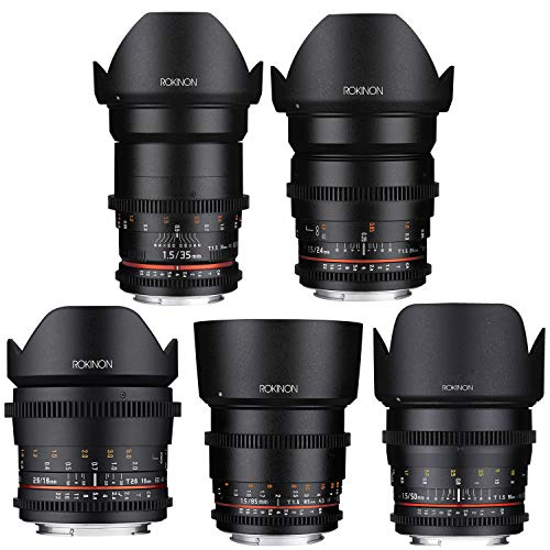 Rokinon 16mm T2.6 + 24mm, 35mm, 50mm and 85mm T1.5 Cine DS Lens Bundle for Canon EF Mount Full Frame
