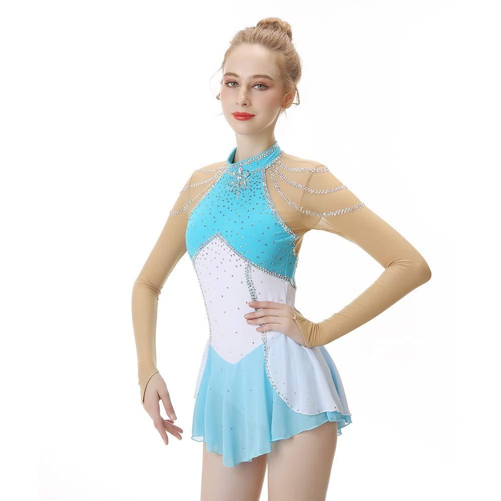 フィギュアスケートドレス女性女の子のアイススケートパフォーマンス競争コスチュームスパンデックスラインストーン手作りスケートウェア長袖ブルー ブルー XL
