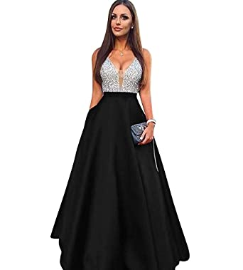 b64f72f7983 Icy Sun Women s Beaded V Neck Prom Dresses Long Sequins Satin Evening Party  Gowns ICYLF067