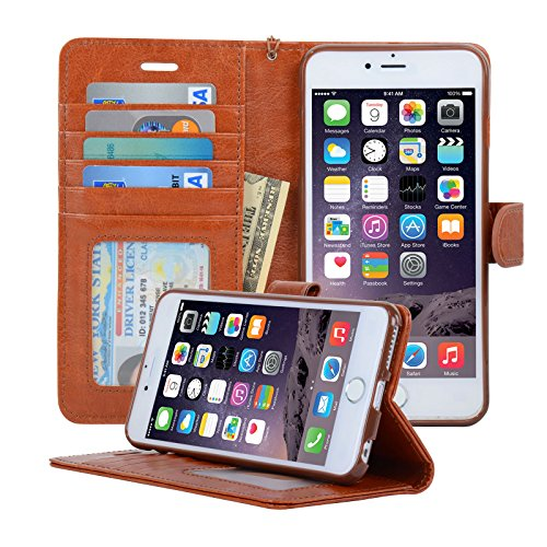 Navor Protective Flip Wallet Case for iPhone 6S Plus & iPhone 6 Plus - Brown
