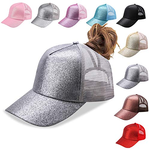 Bocianelli NeuFashion Ponycap Messy High Bun Ponytail Adjustable Mesh Trucker Baseball Cap Hat (gray1)