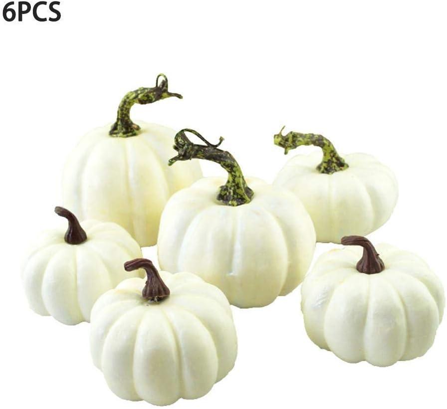 Delleu 6PCS / 12PCS Cosecha Calabazas Artificiales Blancas para Halloween, Otoño Acción de Gracias Decoración Cosecha Embellecimiento y Exhibición