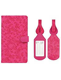 JAVOedge Pink Embossed Paisley Long RFID Blocking Snap Closure Passport Case with Pen Holder and 2 Matching Luggage Tags