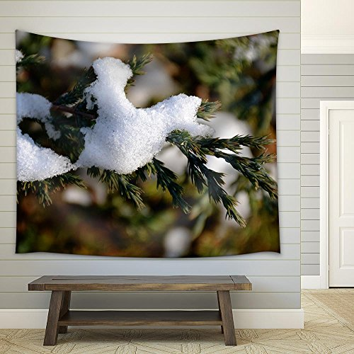 Detail of Snow on Tree Branch Fabric Wall Tapestry