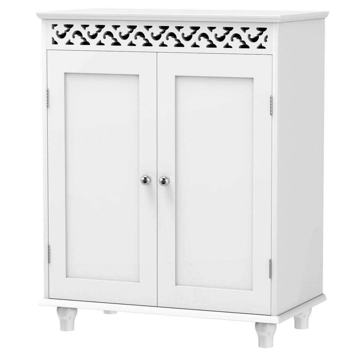Tangkula Floor Cabinet, Bathroom Storage Cabinet, Wooden Modern Home Living Room Side Organizer, Free Standing Storage Cabinet Furniture (White) by Tangkula