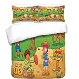 iPrint 3Pcs Duvet Cover Set,Cartoon,Child Cowboy Cute Wild West Cartoon North America Culture Kids Decor,Brown Green,Best Bedding Gifts for Family/Friends