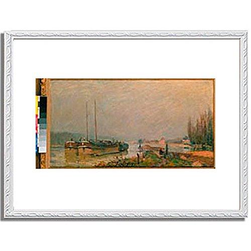 アルフレッドシスレー「At the riverbank of the Seine. 1879 」 インテリア アート 絵画 プリント 額装作品 フレーム:装飾(白) サイズ:M (306mm X 397mm) B00NKRSPDY 2.M (306mm X 397mm)|6.フレーム:装飾(白) 6.フレーム:装飾(白) 2.M (306mm X 397mm)