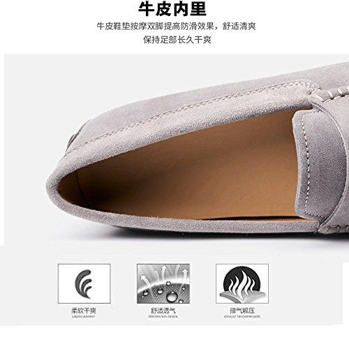 Mens Suede Lederen Gesp Mocassin Comfort Instapper Schoenen Loafers Mode Schoen Grijs