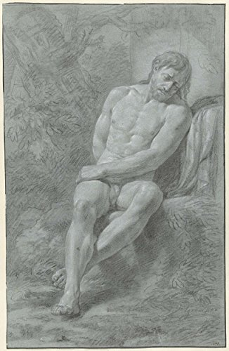 "Classic Art Poster - Seated male nude, leaning against a stone, seen from the front, Jean Grandjean, 1765 - 1781 16"" x 24"""