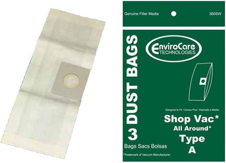12 ShopVac Type B #9066800 2-Gallon Wet//Dry Vacuum Bags 906-68-00 Shop Vac