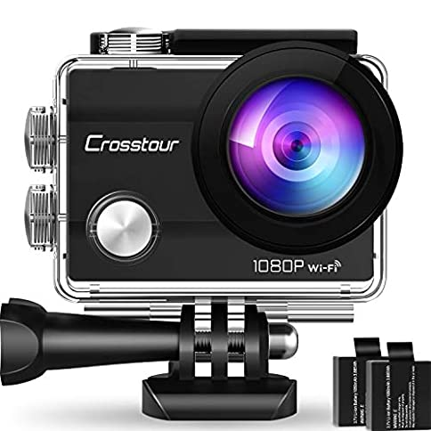 - 51gEOcNk3tL - Crosstour Action Camera Underwater Cam WiFi 1080P Full HD 12MP Waterproof 30m 2″ LCD 170 Degree Wide-Angle Sports Camera with 2 Rechargeable 1050mAh Batteries and Mounting Accessory Kits