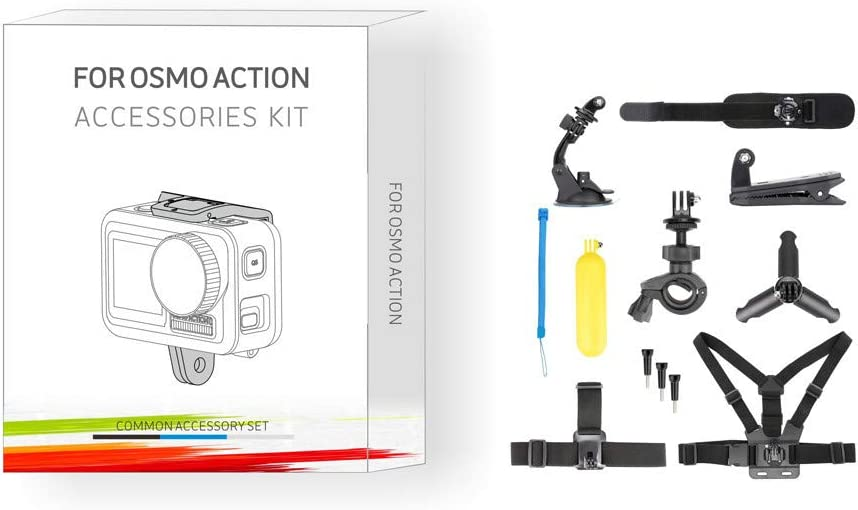 Black Exteren Sports Cam Accessories Kit Bundle for DJI OSMO Action Camera Accessories