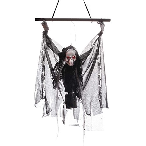 Flying Ghost with Sounds and Flashing Red Eyes Hanging Animated Grim Reaper Skull Props Vampire Halloween Decoration (Electric Skeleton Black)