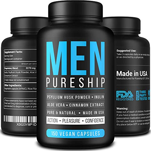 PURESHIP Fiber Pills for Men – Vegan Dietary Supplement – Made in USA – Pure & Natural Inulin Fiber – Excellent Digestive Treatment – Proven Proprietary Formula – NO GMO – 150 Psyllium Husk Capsules