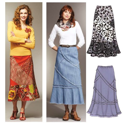 Kwik Sew Misses Patchy Skirts Pattern Bias Cut Elastic Waist Skirt