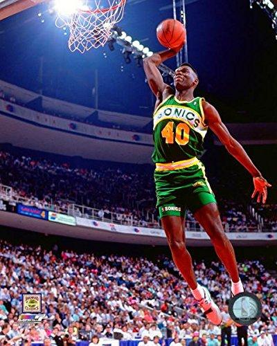 (Shawn Kemp Seattle SuperSonics 1990 Slam Dunk Contest NBA Action Photo (Size: 11
