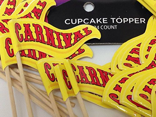 24 Carnival Cupcake Birthday Party Flag Banner Cake Decorations Party Supplies]()