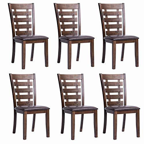 Furgle Set of 6 Dining Side Chair Oak Wood Modern Kitchen Dining Chair with Ladder Back and Upholstered Seat Covered PU Leather, Brown