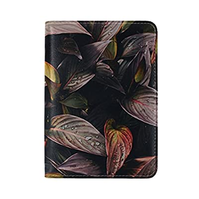 60%OFF Plant Leaves Drops Leather Passport Holder Cover Case Travel One Pocket